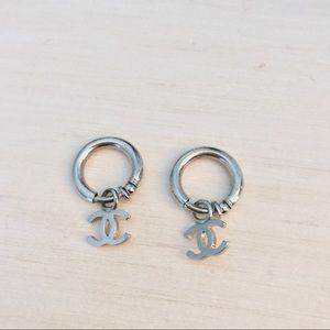 Chanel Silver Hoop Clip-On Earrings