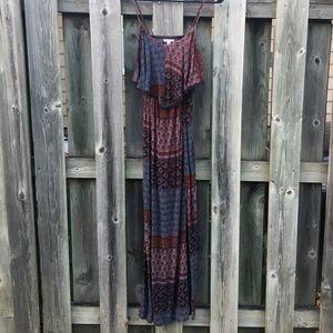 Boho pattern open back maxi dress
