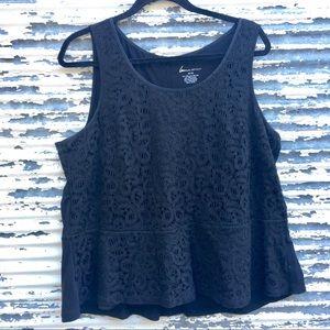 Lane Bryant Lace Front Black Blouse Sz 14/16