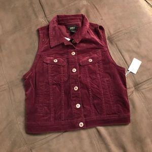 Maroon corduroy vest