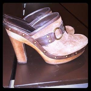 Ralph Lauren Camel Clogs Size 8.5