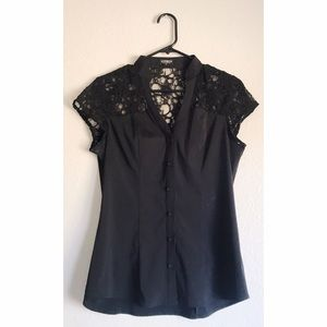 Express Black Short Sleeve Button Up Elite Top