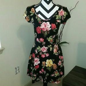 Black floral criss cross back skater dress