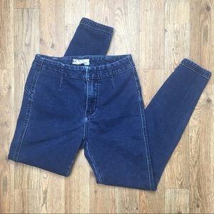Free People Medium Wash Stretch Crop Skinny Jeans