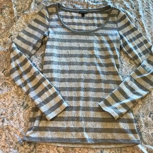 Express Grey & White Shimmer Lace Striped Sweater