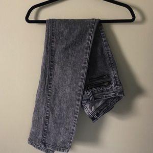 Acid Wash Low-Rise Skinny Jeans