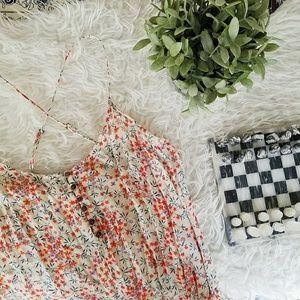 ZARA floral romper criss-cross back shorts