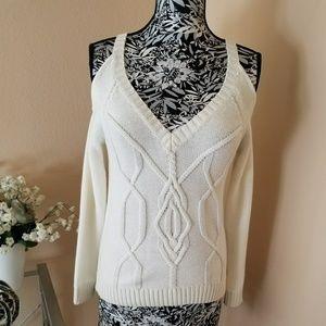 Cream open shoulder cable knitt sweater