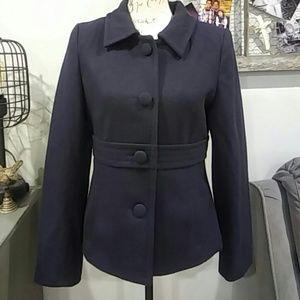 Navy wool blend short peacoat