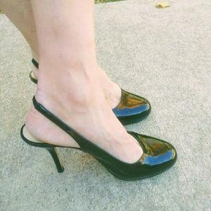 Kate Spade Black Patent Slingback Heels