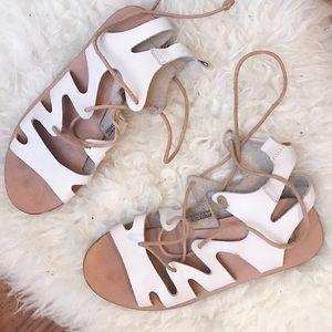 Topshop White Lace-up Sandals