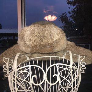 🍂Crown cap rabbit fur hat w/ ear flaps