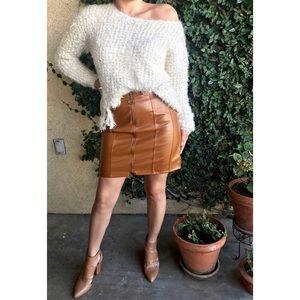 Faux Leather Skirt - Cognac