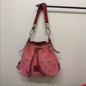 Auth Dooney & Bourke red canvas & leather handbag
