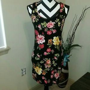 Black floral racerback bodycon dress