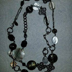 Lia Sophia black, clear, pewter necklace