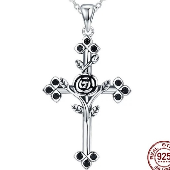 Jewelry 100 sterling silver rose cross pendant necklace poshmark 100 sterling silver rose cross pendant necklace aloadofball Image collections
