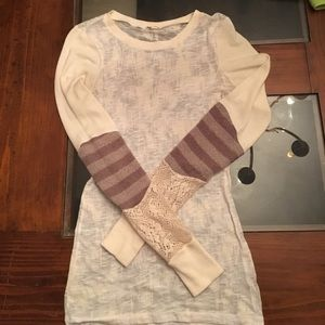 Free People wmn XS ivory thermal knit stripe cuff
