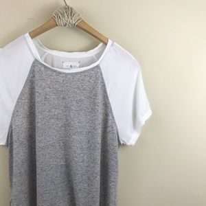 Lou & Grey | Grey and White Silk Blend Tee