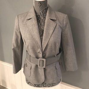Gray belted blazer