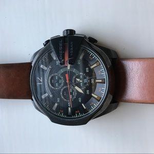 Men's brown leather diesel watch