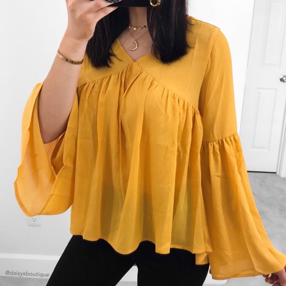 a6aacb5f7bf57 ❤️SALE❤ mustard yellow bell sleeve flowy blouse