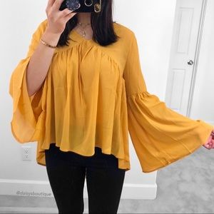 c4ae019eb1ef7 Daisys Boutique Tops - ❤️SALE❤ mustard yellow bell sleeve flowy blouse