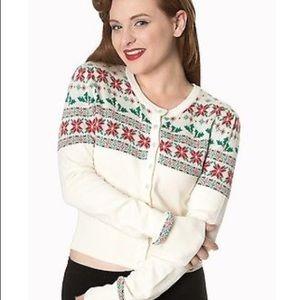 Rockabilly retro 50s Christmas sweater Cardigan 2X