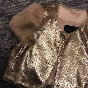 Bcbg sequin gold and fur cropped jacket