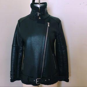 NWOT Faux-Leather Moto Jacket