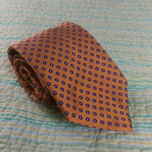Ralph Lauren Chaps Orange Blue Polka Dot Silk Tie