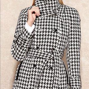 Women's Calvin Klein houndstooth wool trench coat