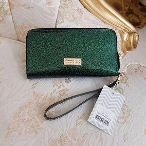 Deux Lux Green Glossy Glitter Wallet/Wristlet