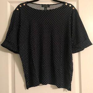 Ralph Lauren 2X Cotton short sleeve blouse Navy