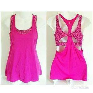 Lululemon pink animal print built in bra yoga top