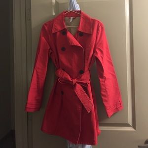 Mid-thigh Red Trench Coat
