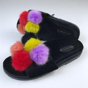 NWT Zara Rainbow Pom Pom Fur Slide