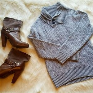 H&M Gray Thick Cable Knit Sweater