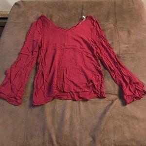 Burgundy long sleeved top