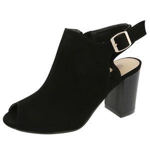 Black Peep-Toe Booties Size 6.5