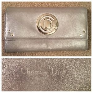 DIOR silver soft leather wallet