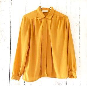 Vintage 80's Sz 10 mustard yellow blouse