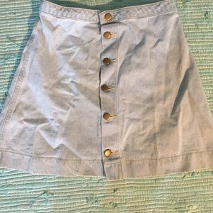 American apparel denim button down skirt