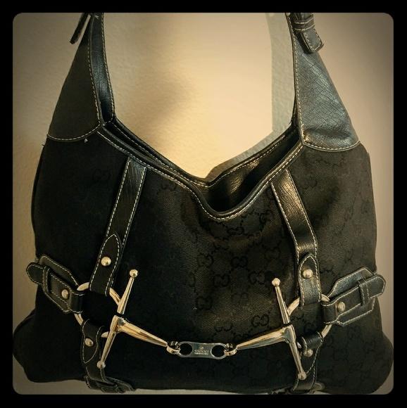 78a29b55d4b Gucci Handbags - GUCCI Black Monogram Canvas Hobo Shoulder Bag