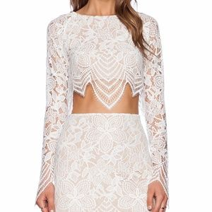 For Love & Lemons White/Nude Lace Guava Crop Top
