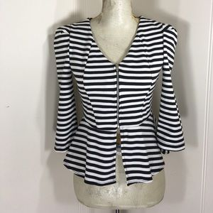All Items 3for$15 Striped Zip Peplum Blouse