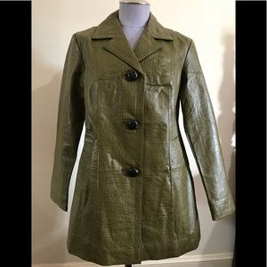 Chico's olive green leather coat.