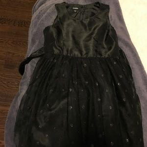 Zunie black satin and tulle dress