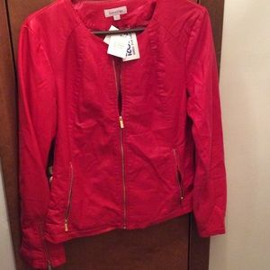 Red Calvin Klein leather-like jacket