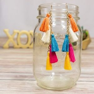 Jewelry - Multi-Color Tiny-Tassel Earrings